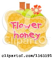 Honeycomb With Bee Houses And Flower Honey Text