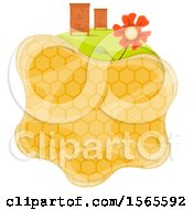 Honeycomb With Bee Houses And A Flower