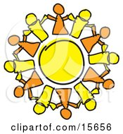 Circle Of Orange And Yellow People Holding Hands Symbolizing Teamwork And Support Clipart Illustration