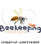 Clipart Of A Honey Bee Over Text Royalty Free Vector Illustration