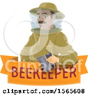 Clipart Of A Beekeeper Holding A Smoker Over A Banner Royalty Free Vector Illustration