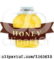 Clipart Of A Honey Jar With A Text Banner Royalty Free Vector Illustration