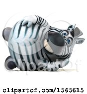 Clipart Of A 3d Zebra Resting On A White Background Royalty Free Illustration by Julos