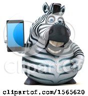 3d Zebra Holding A Smart Phone On A White Background