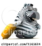 3d Zebra Traveler With A Rolling Suitcase On A White Background
