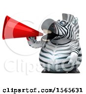 Clipart Of A 3d Zebra Using A Megaphone On A White Background Royalty Free Illustration by Julos