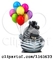 Clipart Of A 3d Zebra Holding Balloons On A White Background Royalty Free Illustration by Julos