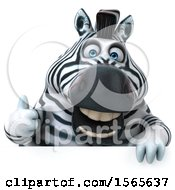 Clipart Of A 3d Zebra Over A Sign On A White Background Royalty Free Illustration by Julos