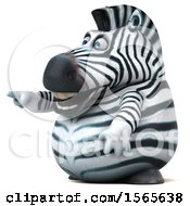 Clipart Of A 3d Zebra Pointing On A White Background Royalty Free Illustration by Julos