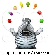 Clipart Of A 3d Zebra Juggling Produce On A White Background Royalty Free Illustration by Julos