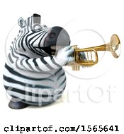 Clipart Of A 3d Zebra Playing A Trumpet On A White Background Royalty Free Illustration by Julos