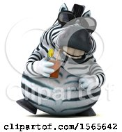 Clipart Of A 3d Zebra Drinking A Beverage On A White Background Royalty Free Illustration by Julos