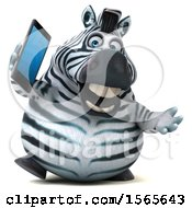 Clipart Of A 3d Zebra Holding A Smart Phone On A White Background Royalty Free Illustration by Julos
