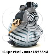 Clipart Of A 3d Zebra Eating A Waffle Cone On A White Background Royalty Free Illustration by Julos