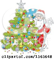 Clipart Of A Christmas Tree And Santa Claus Royalty Free Vector Illustration