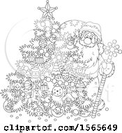 Clipart Of A Lineart Christmas Tree And Santa Royalty Free Vector Illustration