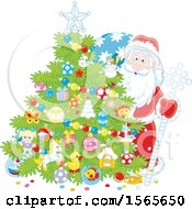 Clipart Of A Christmas Tree And Santa Royalty Free Vector Illustration