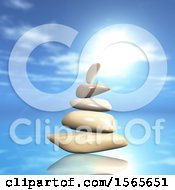 Clipart Of 3d Zen Balanced Rocks And An Ocean Landscpe Royalty Free Illustration by KJ Pargeter
