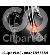 3d Xray Man Jumping With Ankle Pain On Black