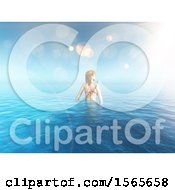 Poster, Art Print Of 3d Woman Wading In The Ocean