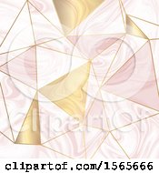Pink And Gold Marble Geometric Background
