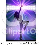 Clipart Of A Silhouetted Pole Dancer Woman Under Spotlights On Purple Royalty Free Vector Illustration