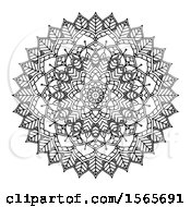 Clipart Of A Black And White Mandala Design Royalty Free Vector Illustration