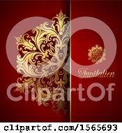 Poster, Art Print Of Gold Floral Design On Red With Text