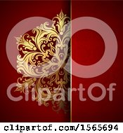 Clipart Of A Gold Floral Design On Red Royalty Free Vector Illustration