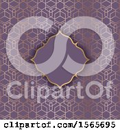 Poster, Art Print Of Blank Frame On A Gold And Purple Geometric Pattern