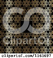 Poster, Art Print Of Blank Frame On A Gold And Black Art Deco Styled Pattern