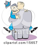 Big Businessman Picking Up And Hugging Another