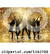 Group Of Silhouetted Dancers On Gold
