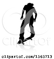 Clipart Of A Silhouetted Male Skateboarder With A Reflection Or Shadow On A White Background Royalty Free Vector Illustration by AtStockIllustration
