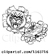 Clipart Of A Black And White Panther Breaking Through A Wall With A Video Game Controller Royalty Free Vector Illustration
