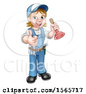 Poster, Art Print Of Full Length Female Plumber Giving A Thumb Up And Holding A Plunger