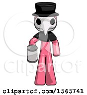 Pink Plague Doctor Man Begger Holding Can Begging Or Asking For Charity