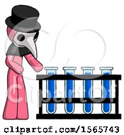 Pink Plague Doctor Man Using Test Tubes Or Vials On Rack