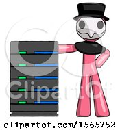 Pink Plague Doctor Man With Server Rack Leaning Confidently Against It