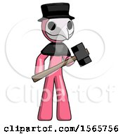 Pink Plague Doctor Man With Sledgehammer Standing Ready To Work Or Defend