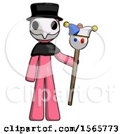 Pink Plague Doctor Man Holding Jester Staff