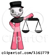 Pink Plague Doctor Man Holding Scales Of Justice