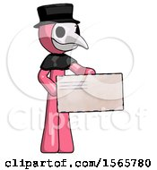 Pink Plague Doctor Man Presenting Large Envelope