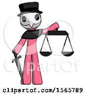 Pink Plague Doctor Man Justice Concept With Scales And Sword Justicia Derived