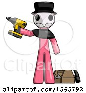 Pink Plague Doctor Man Holding Drill Ready To Work Toolchest And Tools To Right