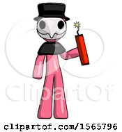 Pink Plague Doctor Man Holding Dynamite With Fuse Lit