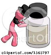 Pink Plague Doctor Man Pushing Large Medicine Bottle