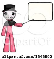 Pink Plague Doctor Man Giving Presentation In Front Of Dry Erase Board