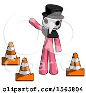 Pink Plague Doctor Man Standing By Traffic Cones Waving