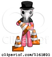 Pink Plague Doctor Man Holding A Traffic Cone